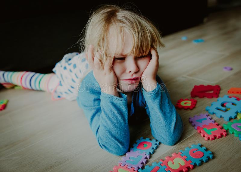 Download Sad Stressed Little Girl, Despair Stock Photo - Image of lonely, difficulty: 114288856
