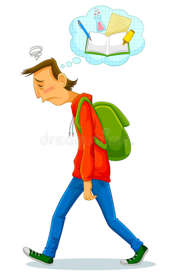 Sad student. Depressed student walking to school and thinking about studying stock illustration