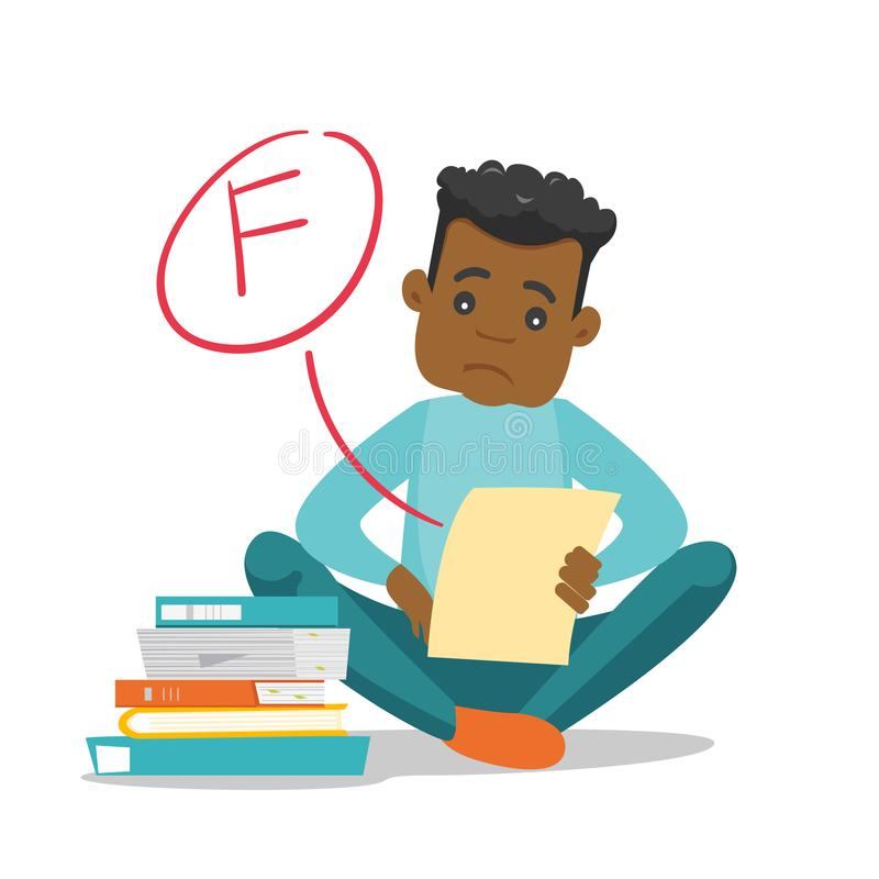 Sad student looking at test paper with bad grade. Unhappy african-american student disappointed by test with F grade. Sad student looking at the test paper with vector illustration