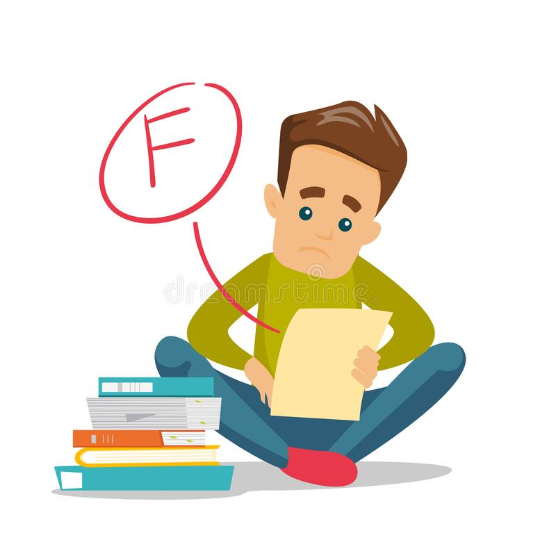Sad student looking at test paper with bad grade. Unhappy caucasian white student disappointed by test with F grade. Sad student looking at the test paper with royalty free illustration
