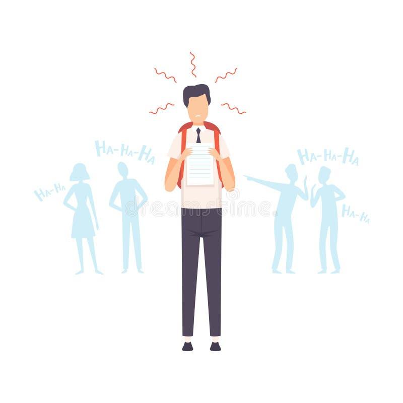 Sad Student Showing Best Test Results, Classmates Bullying and Mocking Him Vector Illustration. On White Background royalty free illustration