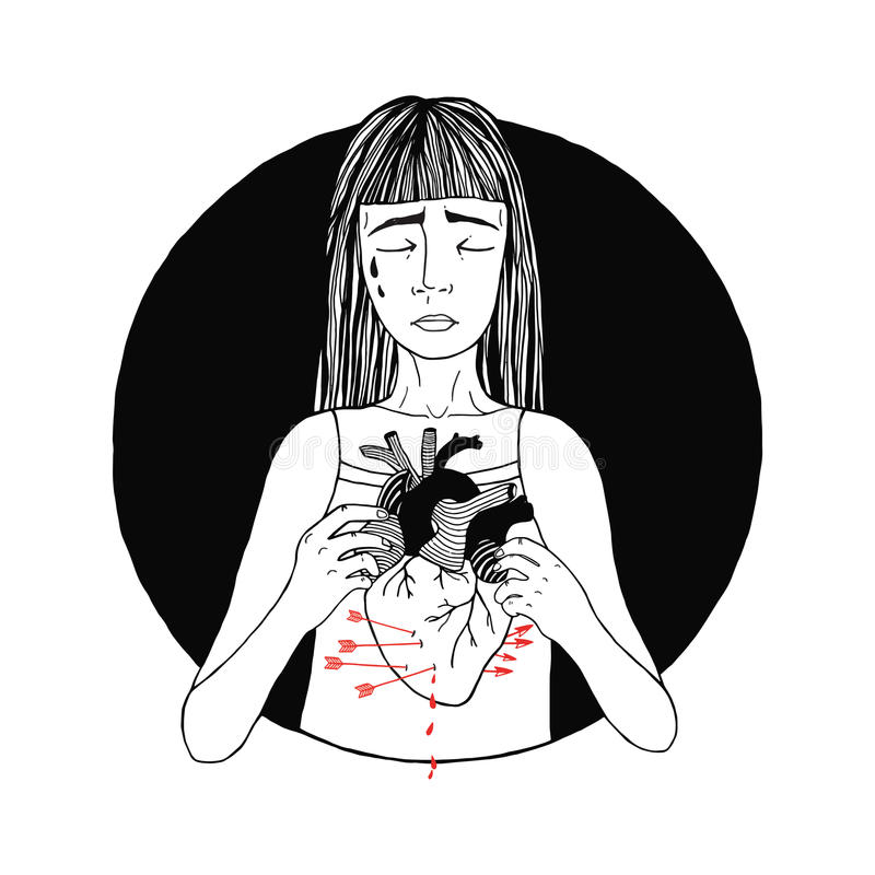 Sad and suffering girl loss of love. women, broken heart concept. hand drawn illustration. Hand drawn illustration. Sad and suffering girl loss of love. women vector illustration