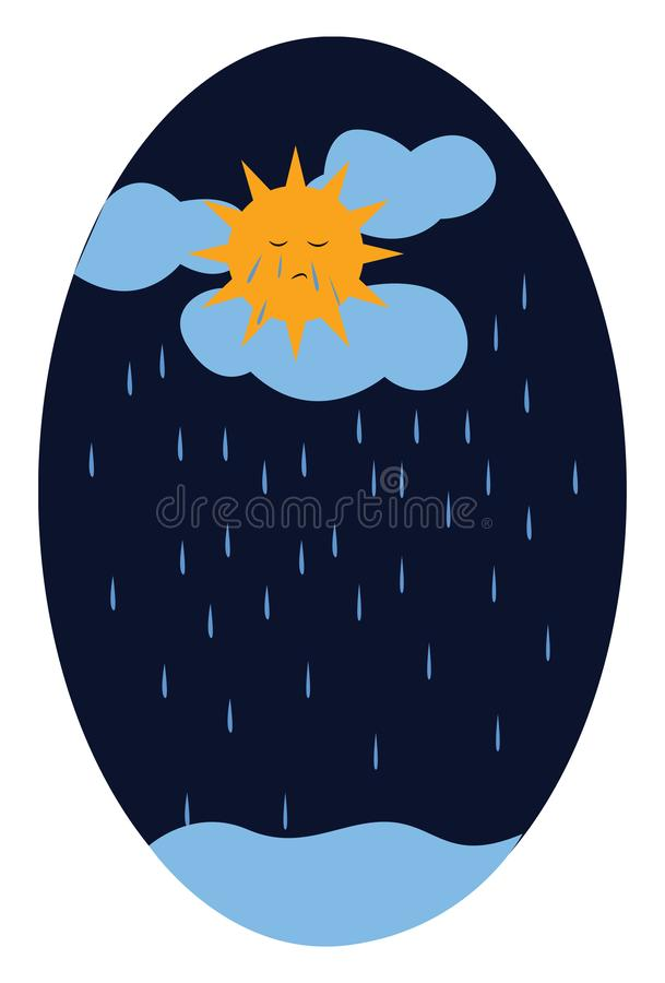 Sad sun on a rainy and gloomy day vector or color illustration. Sad sun on a rainy and gloomy day vector color drawing or illustration vector illustration