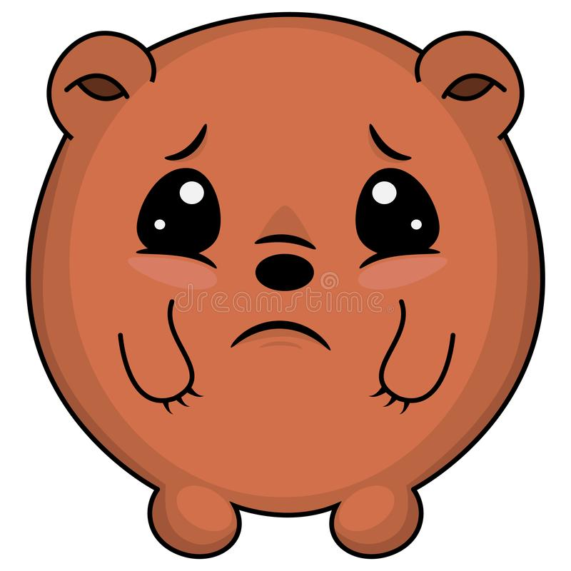 Sad taddy bear. Cartoon illustration of a bear looking sad. Cute chibi anime Bear royalty free illustration