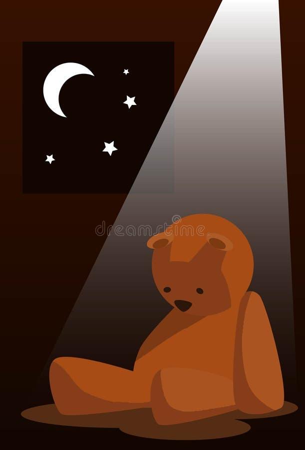 Download Sad Teddy bear stock illustration. Image of sadness, moon - 11523303