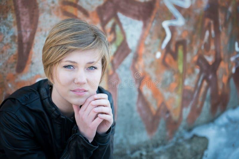 SAD teen för flicka fotografering för bildbyråer
