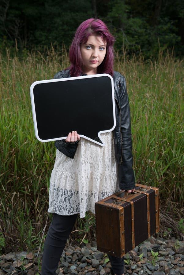 SAD teen för flicka royaltyfri bild