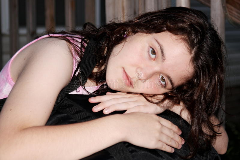 sad teen girl depressed runaway stock photos