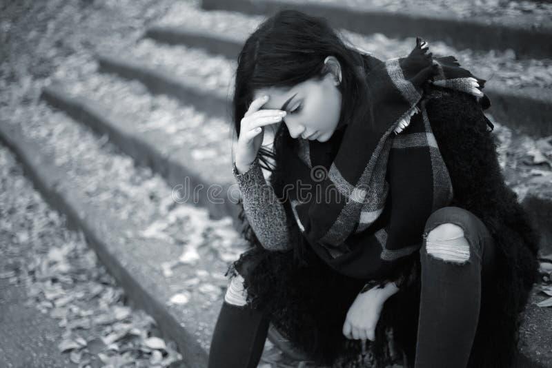 Sad teen girl outdoor stock photography