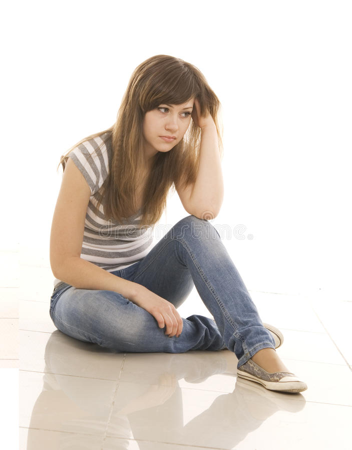 Download Sad teenager stock photo. Image of bored, sitting, cute - 12653220