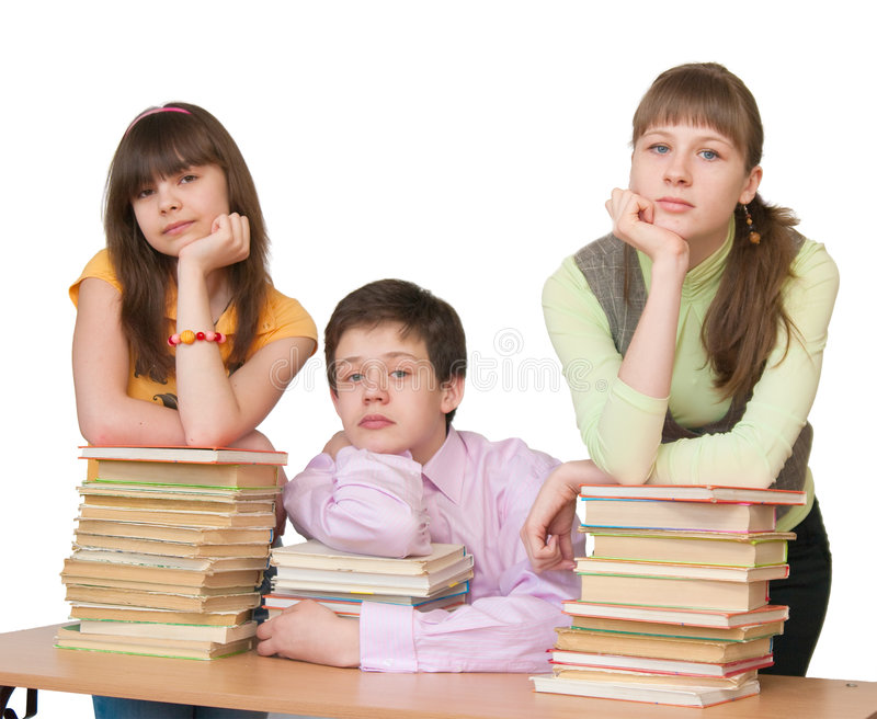 Download Sad Teenager With Many Books Stock Photo - Image: 9203530