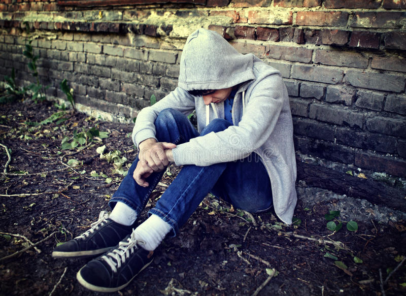 Sad Teenager outdoor royalty free stock photography