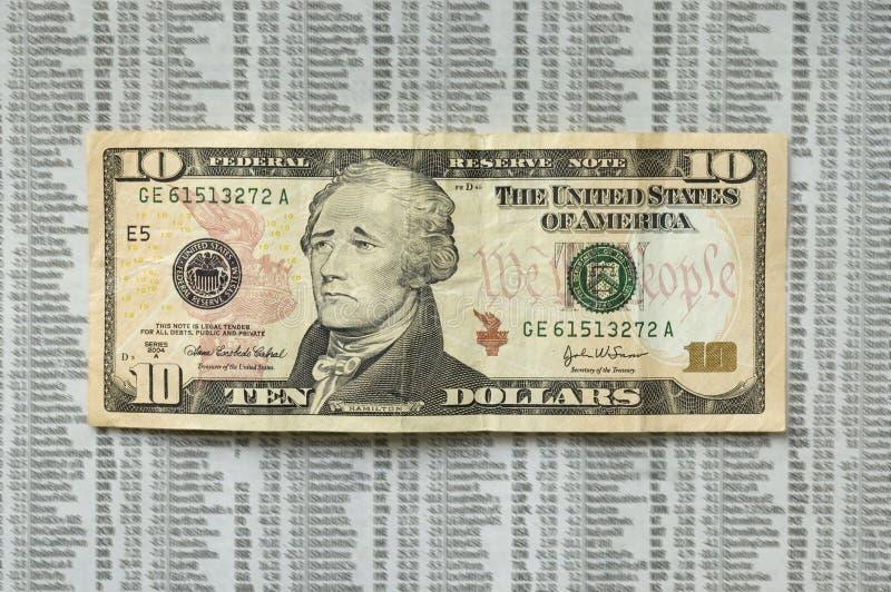 Sad ten dollar bill. stock image