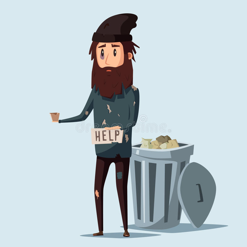 Sad unemployed beggar. Cartoon vector illustration. Sad unemployed beggar. Homeless. Man in dirty rags. Character in torn clothes. Human holding sign royalty free illustration