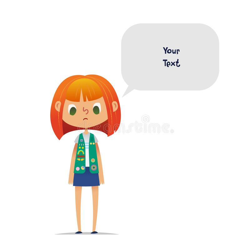 Sad or upset redhead teenage girl scout wearing vest with colorful badges and patches and speech balloon with place for royalty free illustration