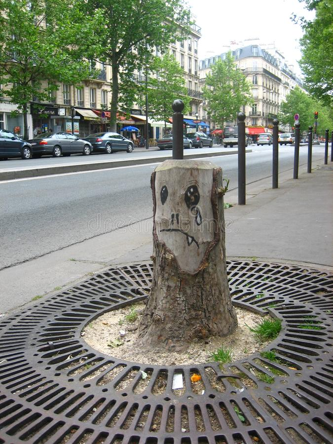 Sad vampire tree stump royalty free stock photography
