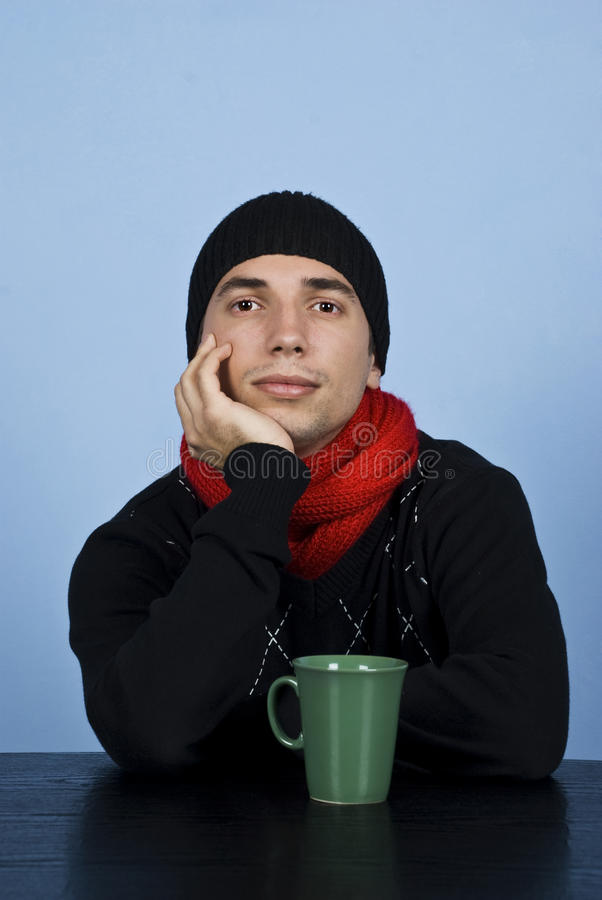 Sad Winter Man Stock Photography