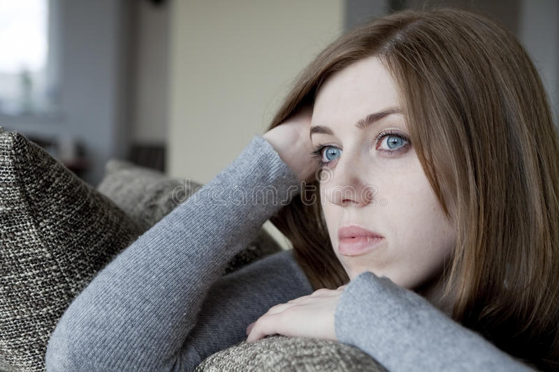 Download Sad woman stock image. Image of looking, house, female - 19653675