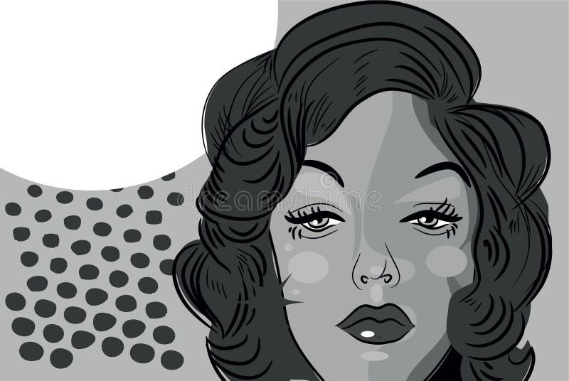 Woman beaitiful face comic tattoo style retro blond stock illustration