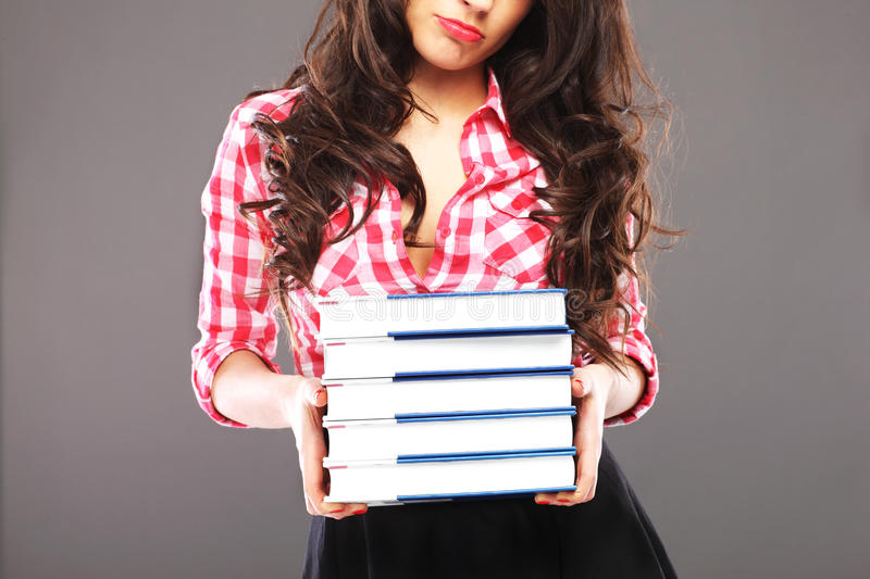 Download Sad woman with books stock photo. Image of headache, frustrated - 39504376