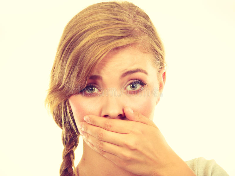 Download Sad Woman Covering Mouth With Hand Stock Image - Image of scared, hand: 83712843