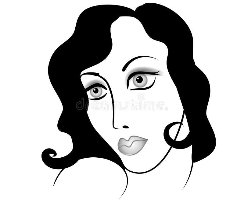Sad Woman Face Cartoon royalty free stock photos