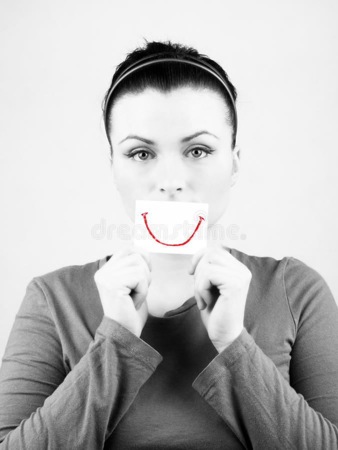 Download Sad woman with fake smile. stock image. Image of woman - 15733569