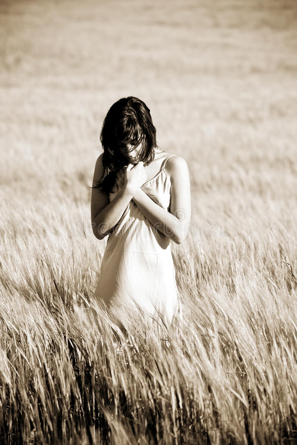 Download Sad woman on field stock photo. Image of natural, beauty - 9662690