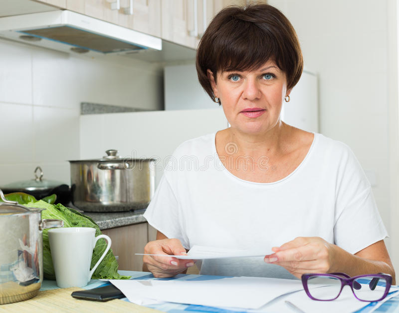 Download Sad Woman Payment Stock Photo - Image: 83701766