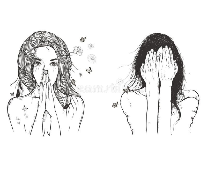 Sad woman prays. Vector art drawing, portrait of sad and depressed girl, thinking about something. Facial expressions, people emotions, romantic and tender young vector illustration