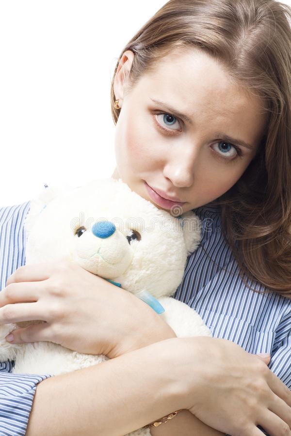 Download Sad woman with teddy bear stock photo. Image of love - 11460736