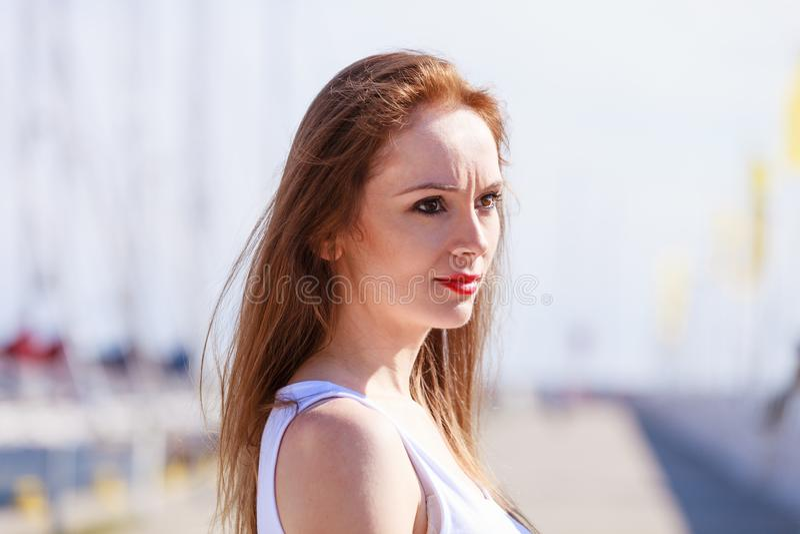 Sad woman walking outdoor royalty free stock photos