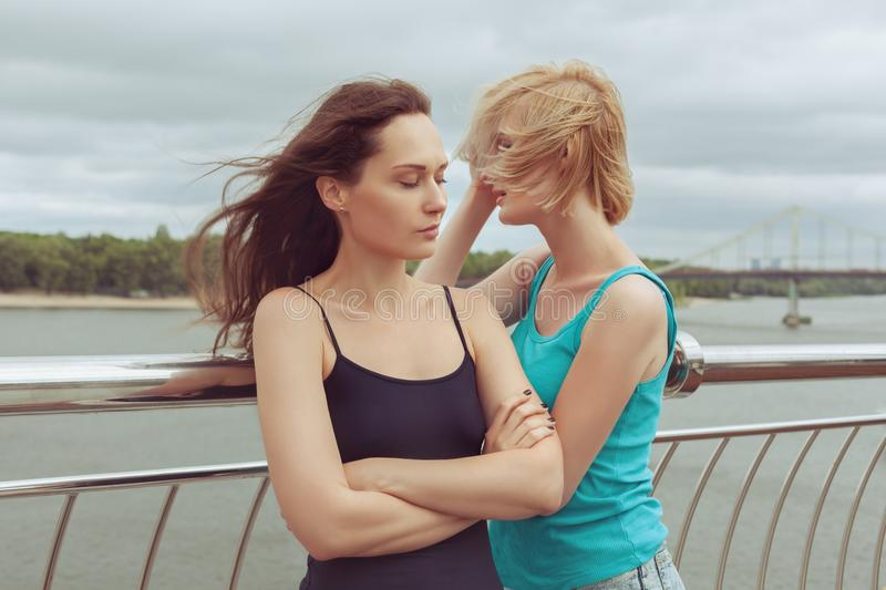 Sad women in a quarrel. Sad women in a quarrel, they cry royalty free stock images