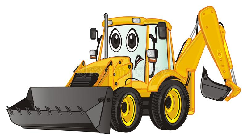 Sad yellow excavator. Un happy yellow excavator stand vector illustration