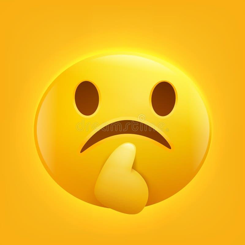 Sad yellow smiley emoji emoticon icon. stock illustration