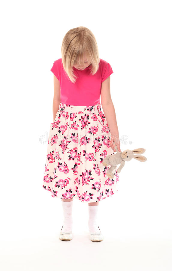 Download Sad young little girl stock photo. Image of pink, unhappy - 14198250