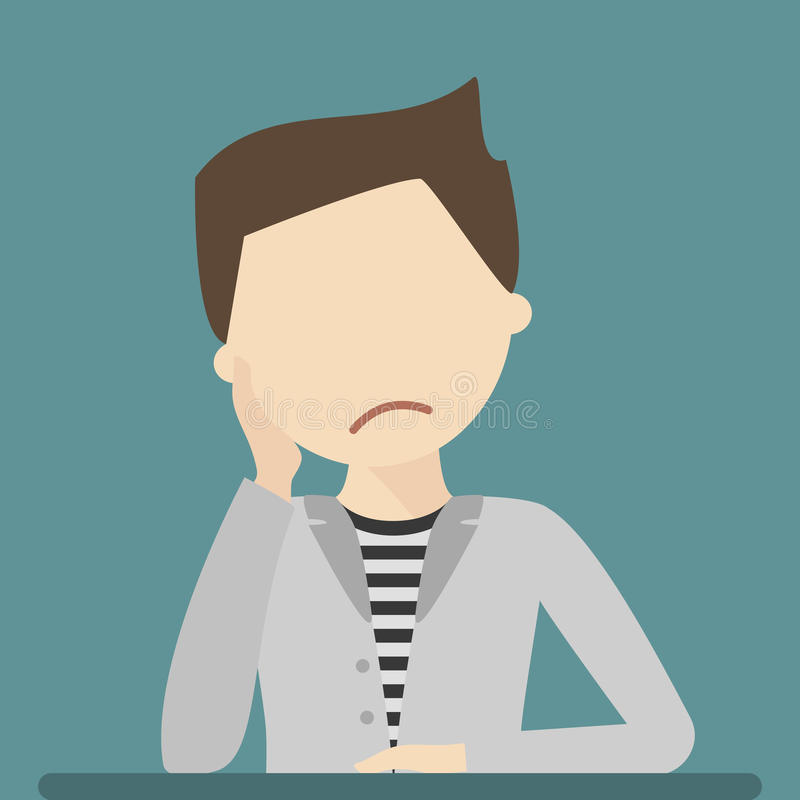 Sad Young Man royalty free illustration