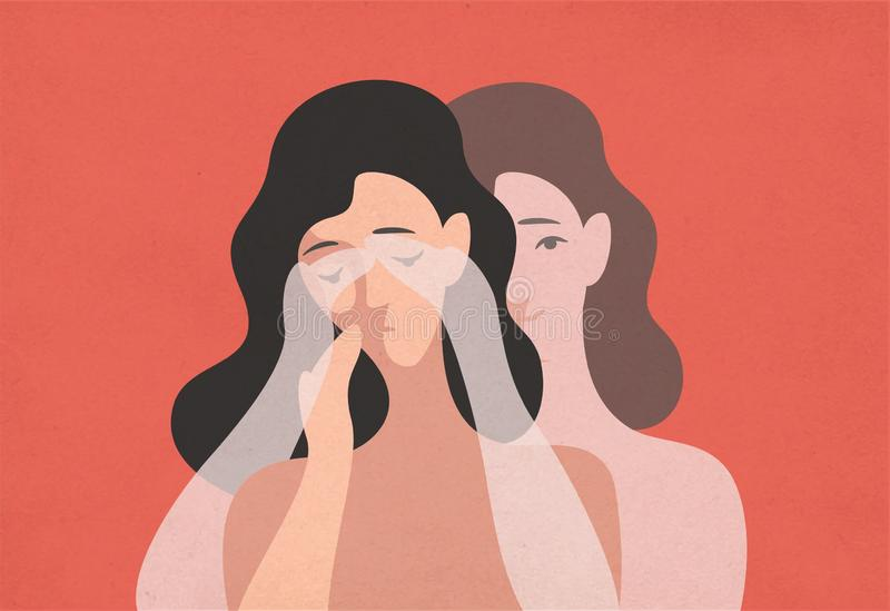 Sad young woman with lowered head and her ghostly twin standing behind and covering her eyes with hands. Concept of self. Deception, reality denial vector illustration