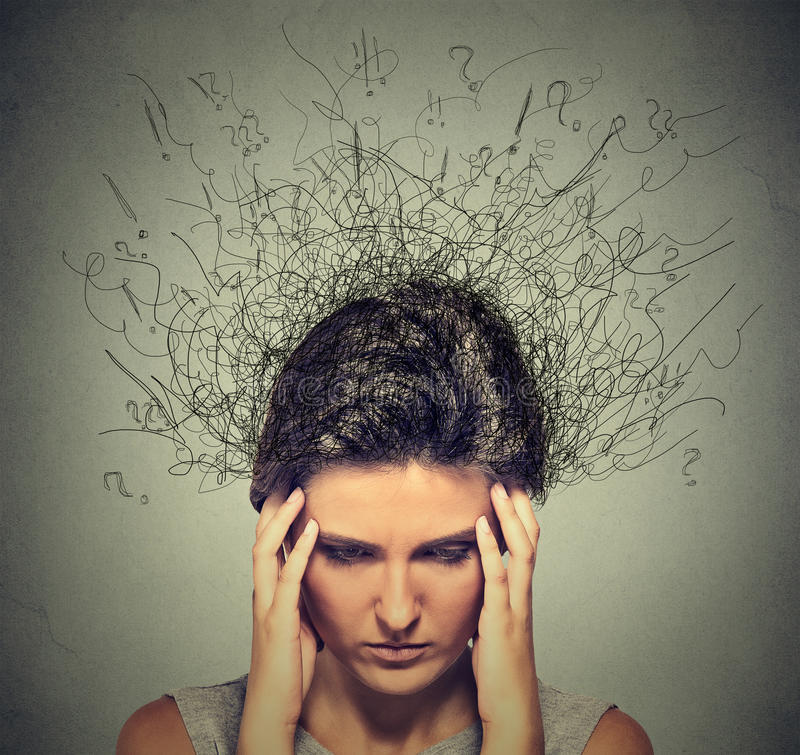Sad young woman with worried stressed face expression and brain melting into lines royalty free stock photos