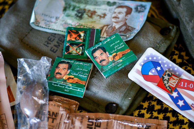 Saddam Hussein Memorabilia de la guerra iraquí fotos de archivo libres de regalías