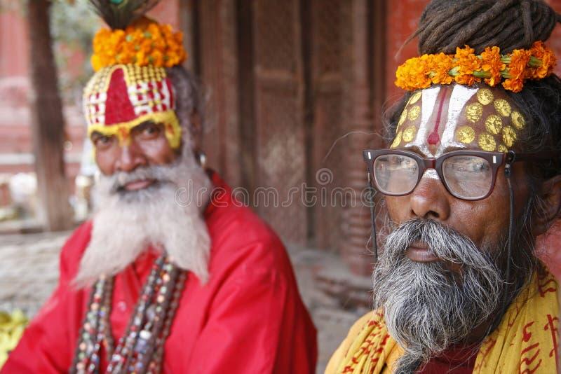 Saddhu no quadrado durbar, kathmandu foto de stock