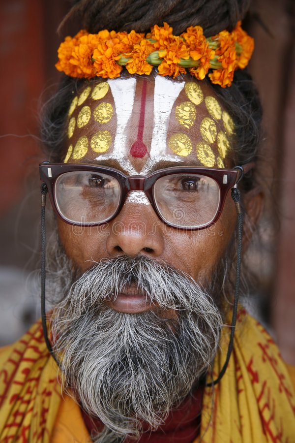 Saddhu Portrait in Katmandu stockfotos