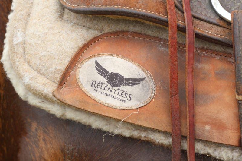 Saddle. 100% handmade genuine leather saddle. True Texas Spirit royalty free stock photography