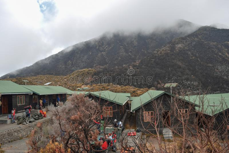 Saddle Hut in Mount Meru, Tanzania stock photo