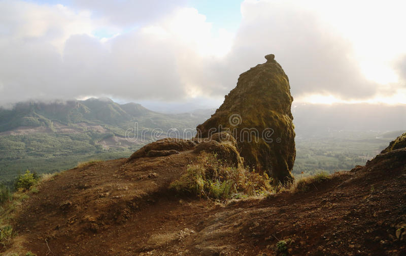 Saddle Mountain. A rock formation on the side of Saddle Mountain towers above Clatsop County in Oregon royalty free stock photography