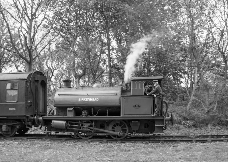 Saddle Tank Steam Train Locomotive Called Birkenhead 7386 In Black & White At Elsecar, Barnsley, South Yorkshire, 1st May 2017. Class 0-4-0ST Saddle Tank stock photos