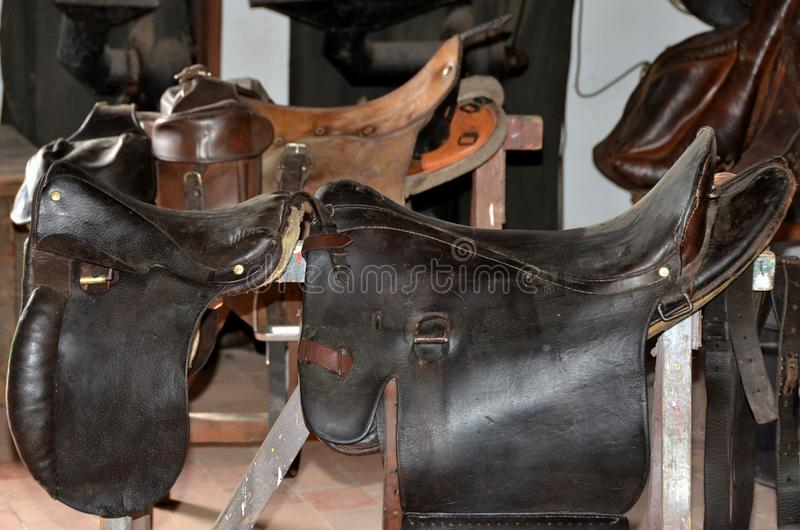 Saddlery. Saddles made from leather royalty free stock images