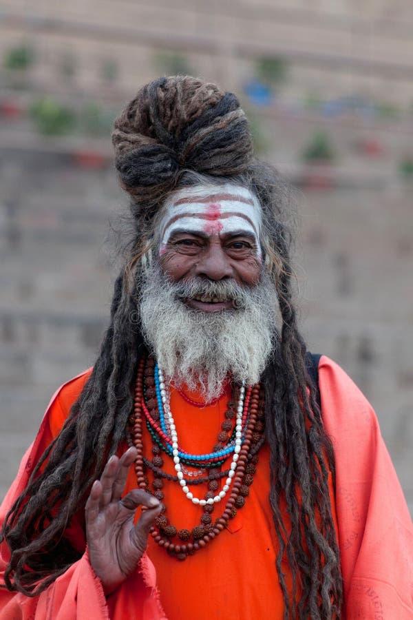 Sadhu圣洁者在瓦腊纳西,印度 免版税库存照片