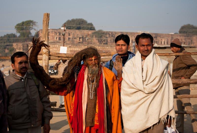 Sadhu avec le long cheveu image libre de droits