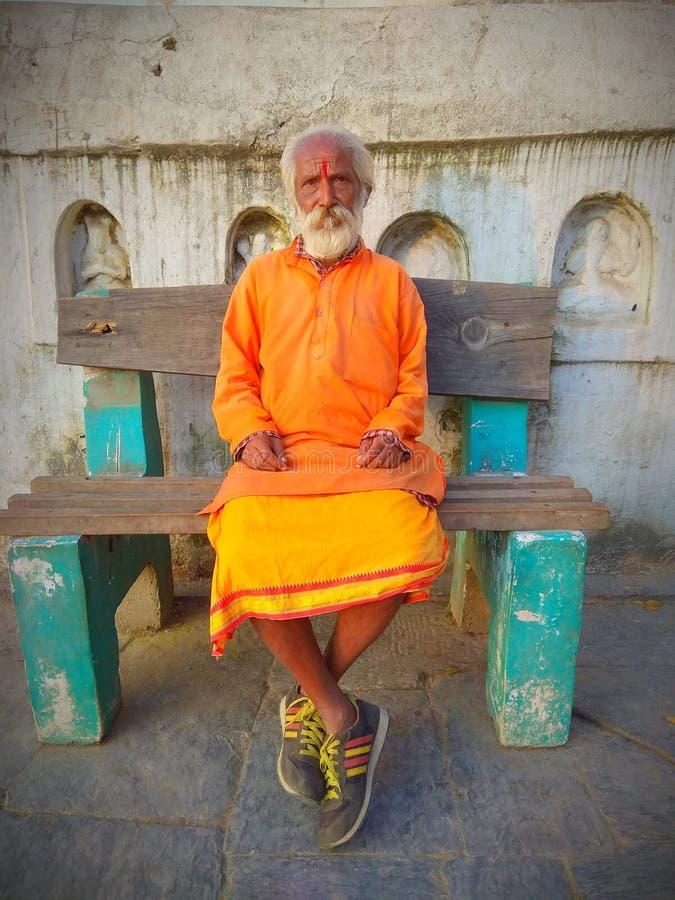 Sadhu baba Od Pashupatinath świątyni Nepal fotografia royalty free